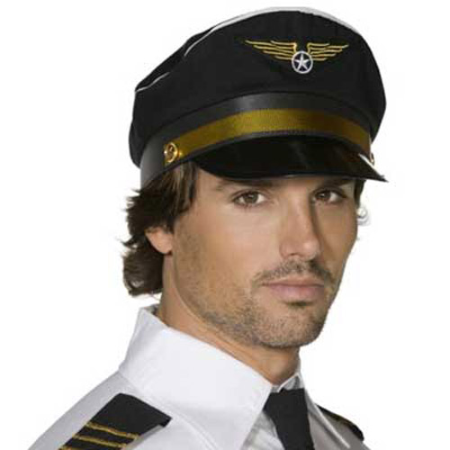 Black Pilot Hat - Fancy Dress Costume Accessory