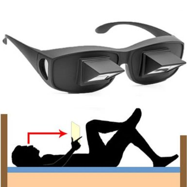 Angled Mirrored Prism Glasses Spectacles - Lie Down Reading & TV