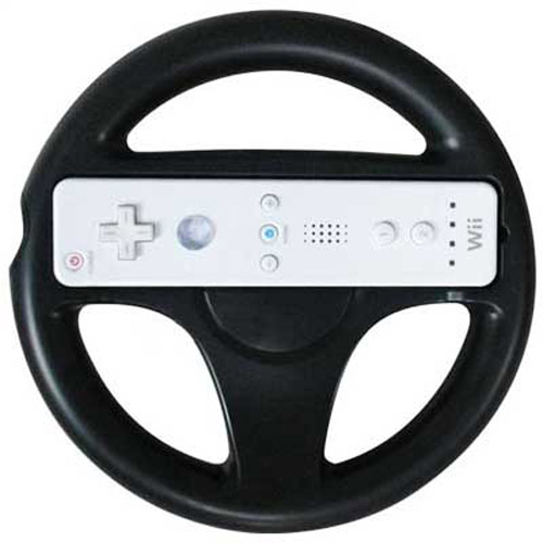Round Steering Wheel for Nintendo Wii Mario Kart Game - Black