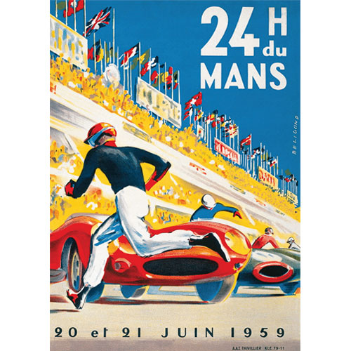 Vintage Le Mans 24H 1959 Racing Classic Reproduction Poster A3