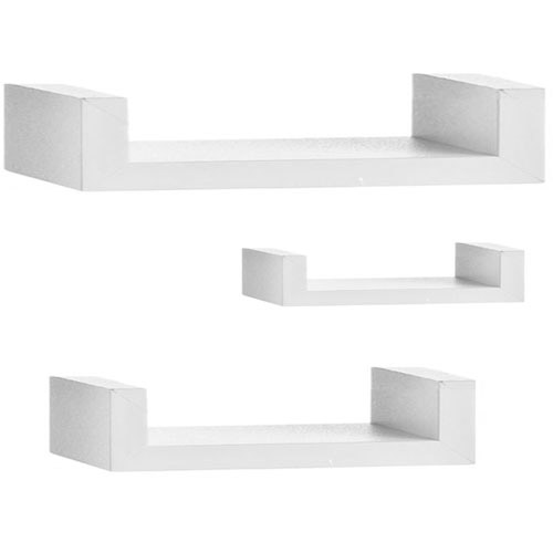 Set Of 3 Modern Straight Wall Shelves Shelf Set - White
