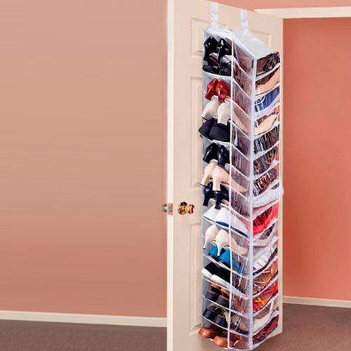 30 Pocket Hanging Over The Door Shoe Organiser Storage White
