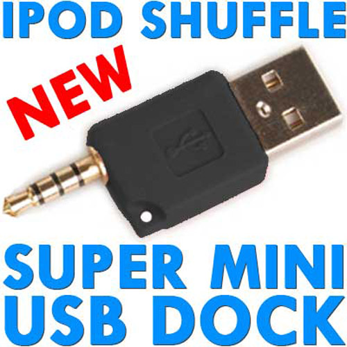 Super Mini USB Dock & Charger for iPod Shuffle - Black