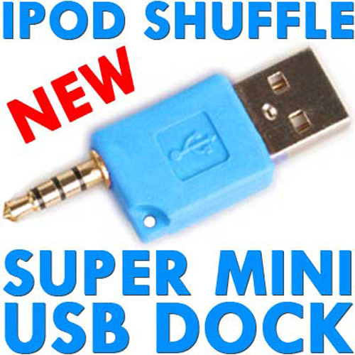 Super Mini USB Dock & Charger for iPod Shuffle - Blue