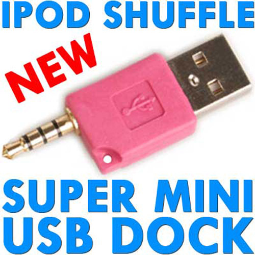Super Mini USB Dock & Charger for iPod Shuffle - Pink