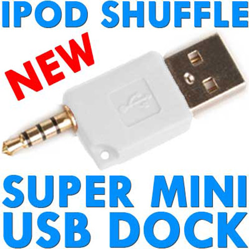 Super Mini USB Dock & Charger for iPod Shuffle - White