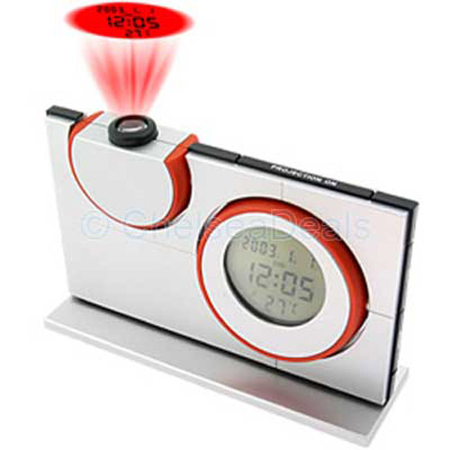 Silver and Red Projection Clock - Amazing
