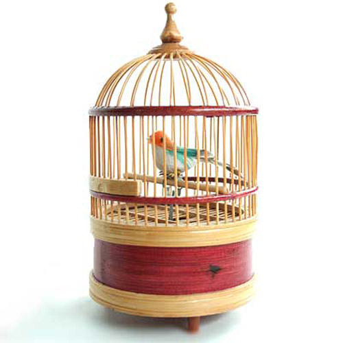 Wooden Bird Cage - Singing Bird - Wind Up Moving Clockwork