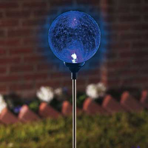 Colour Changing Crackle Glass Solar Light Border Ball