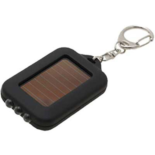 Solar LED Keychain Torch - Black