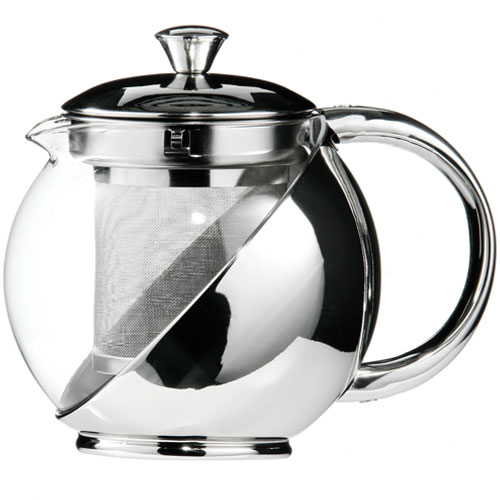Stainless Steel Glass Faced Modern Tea Pot With Infuser 750ml