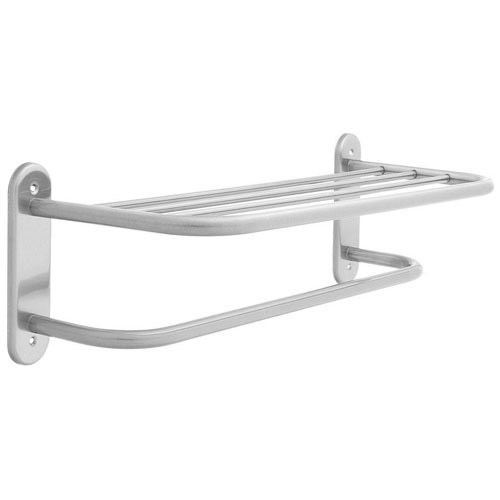 Wall Mounted 5 Rail Satin Steel Dual Towel Shelf Rail Rack