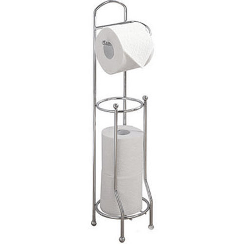 2 In 1 Chrome Toilet Roll Storage Holder - Holds 4 Rolls!