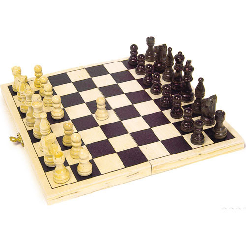 Classic Traditional Folding Wooden Chess Board Game Set Case