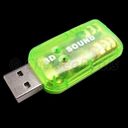 USB 2.0 3D Sound 5.1 CH Powerful Notebook/Laptop Sound Card