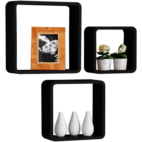 Set Of 3 Decorative Storage Display Hanging Wall Cubes - Black
