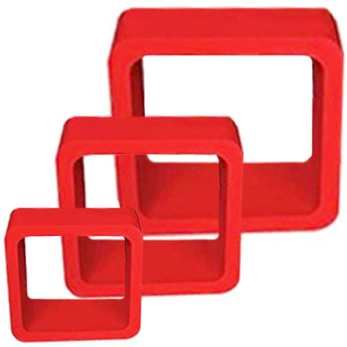 Set Of 3 Decorative Storage Display Hanging Wall Cubes - Red