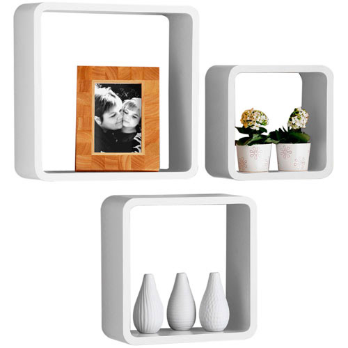 Set Of 3 Decorative Storage Display Hanging Wall Cubes - White