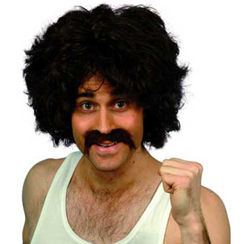 118 118 Wig & Tash / Moustache Fancy Dress Costume
