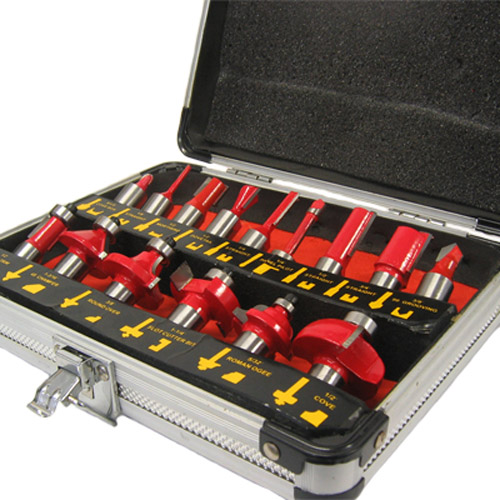 15 Piece Carbide Router Bit Set 1/2inch Shank + Aluminium Case